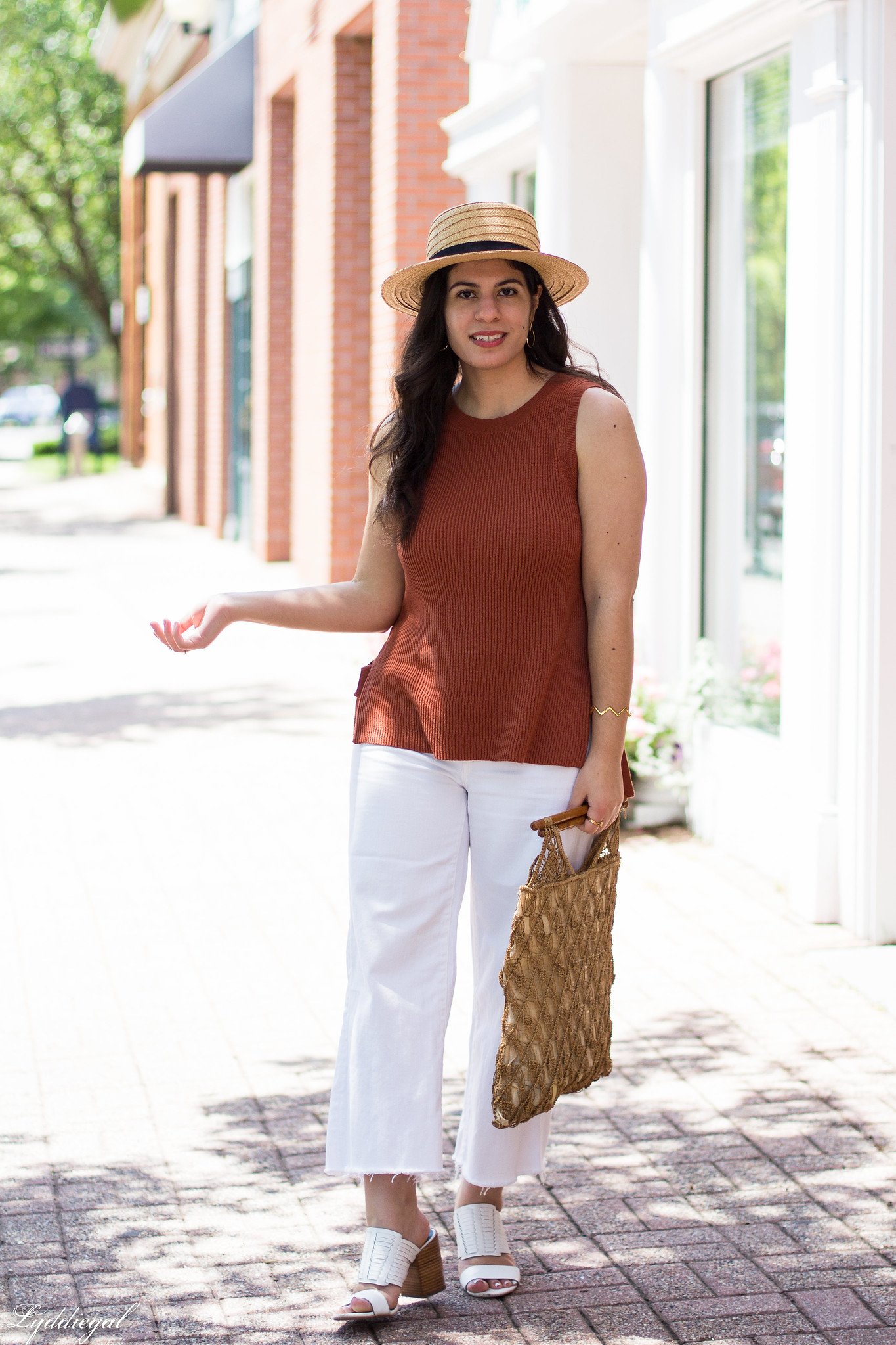 Rust Knit Tank, White wide leg jeans, straw hat, macrame bag-7.jpg