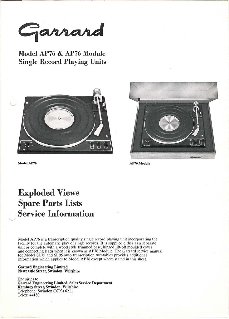 Garrard TechEng Service Manual AP7 | Flickr