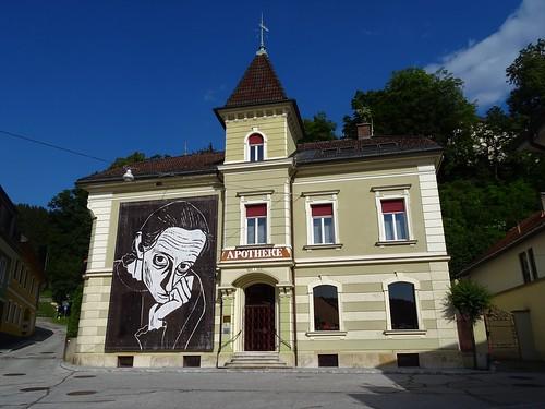 Pliberk/Bleiburg, Carinthia, state of Austria (the art of public places of Bleiburg), 10. Oktober Platz (in memoriam Werner Berg)