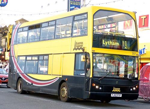 PJ02 PYP 'Blackpool Transport' No. 307, Dennis Trident / East Lancs. Lolyne on 'Dennis Basford's railsroadsrunways.blogspot.co.uk'
