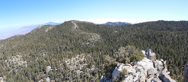 View south from Yale Peak toward Toro, Santa Rosa, Luella Todd, and Red Tahquitz
