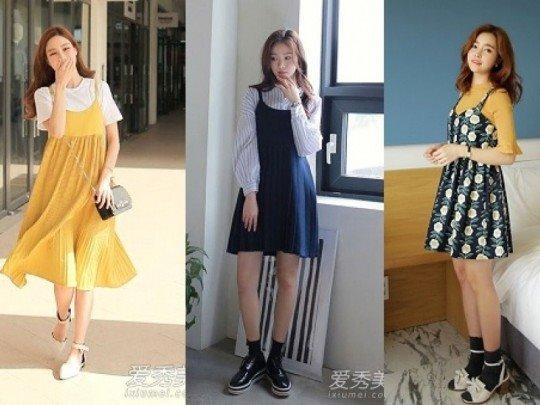 Mix váy 2 dây mặc ngoài như thời trang Hàn Quốc