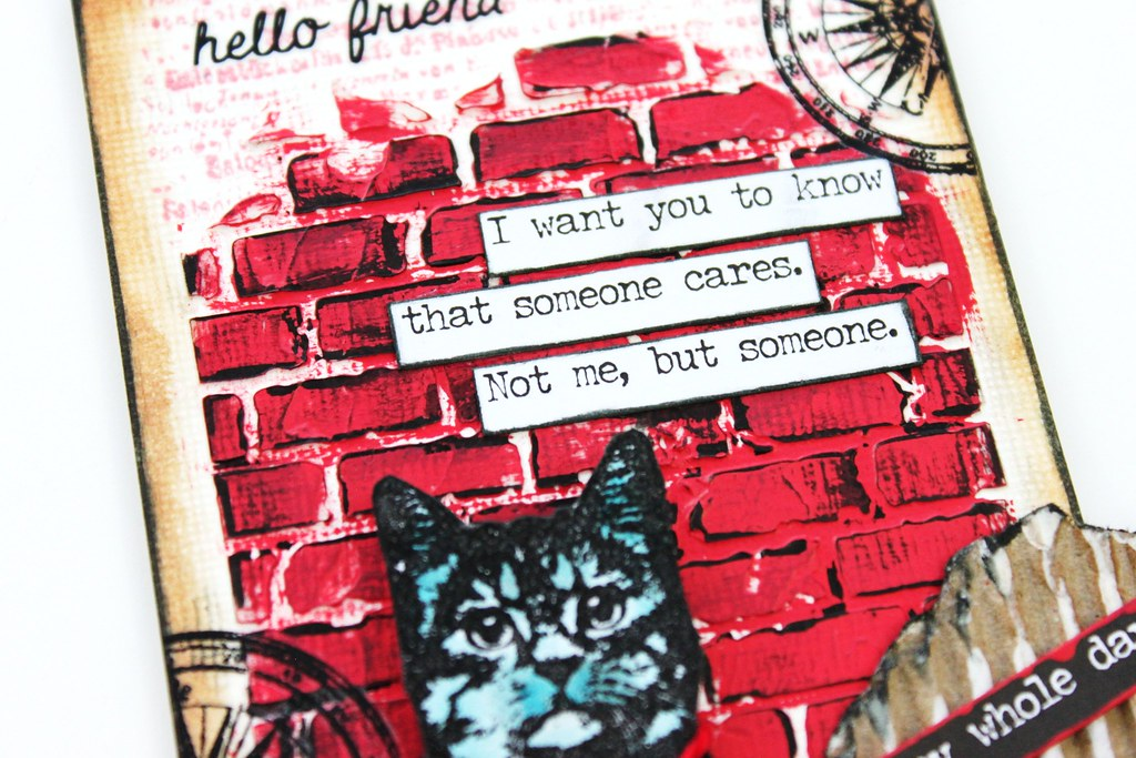Meihsia Liu Simply Paper Crafts Mixed Media Tag Red White Blue Cat Simon Says Stamp Tim Holtz DarkRoom Door 3