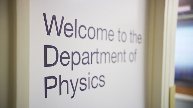dept of physics welcome sign