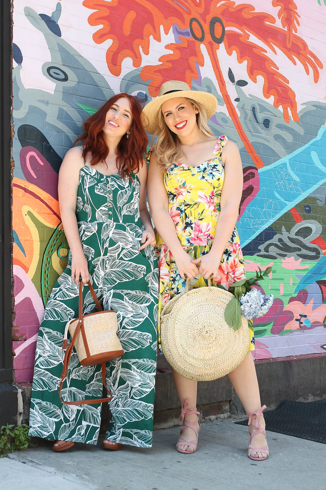 Palm Beach Chic Outfit Inspiration Green Palm Leaf Print Jumpsuit Yellow Large Floral Dress Straw Hat Circle Straw Bag