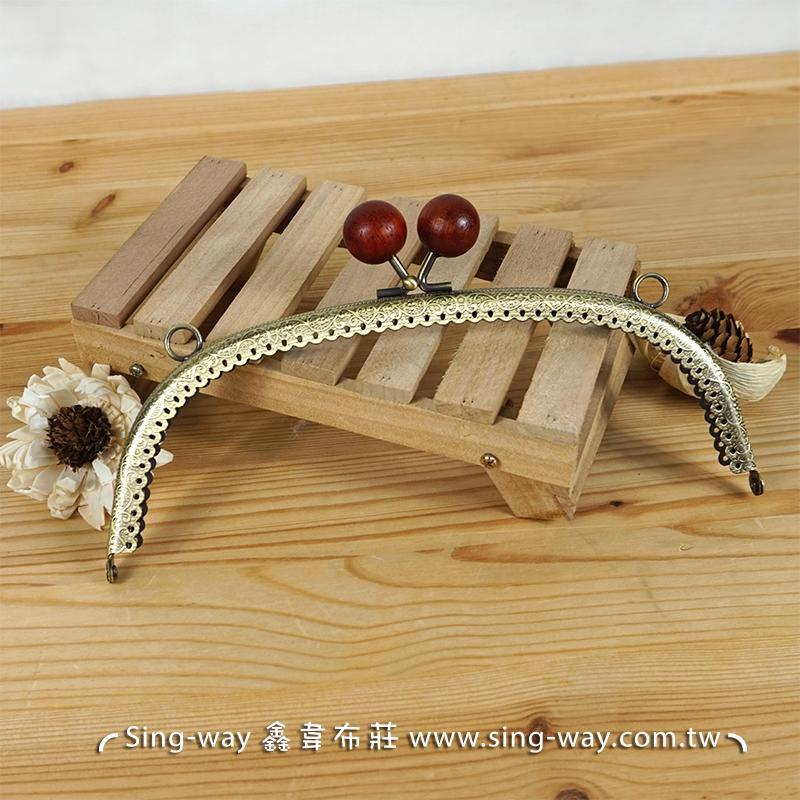 弧型壓花木珠口金- 紅(20.5cm 附版) 壓花紋 素面木珠 典雅風格 手工藝材料配件 SA001709003-1