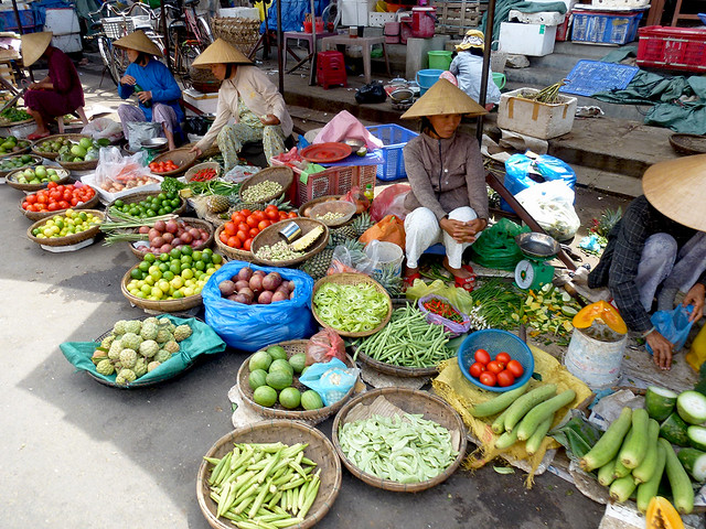 The Food market is common in most cities and towns in Vietnam.