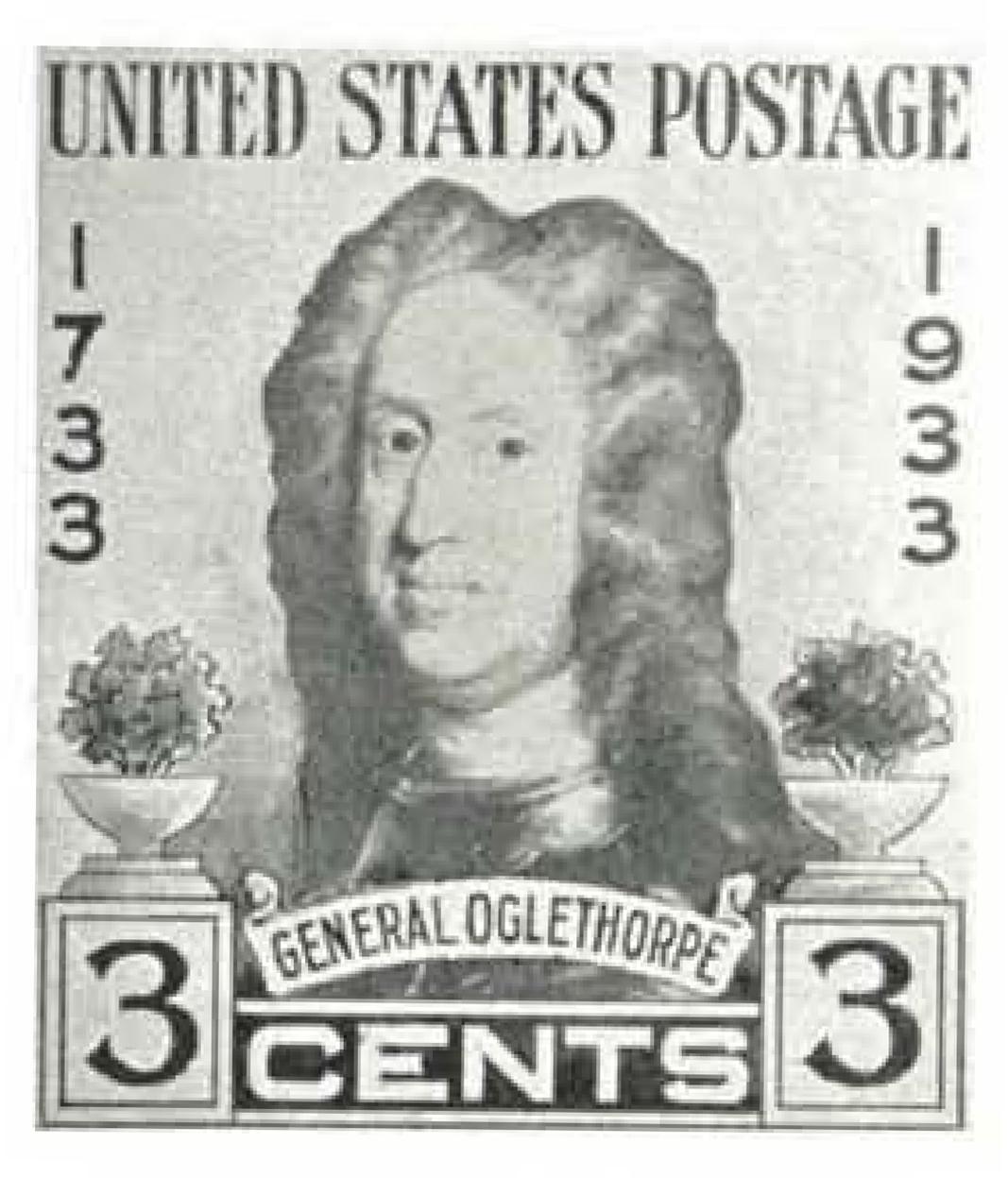 Unused drawing for the General Oglethorpe stamp, designed by A. R. Meissner.