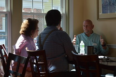 Rep. Stokes speaking with constituents over coffee at Mark's Restaurant in Enfield