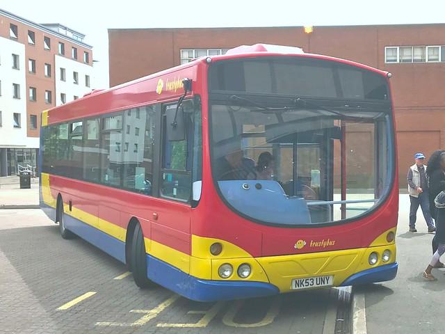 Trustybus/ Galleon Travel . Roydon , Essex . NK53UNY . Harlow Bus Station , Essex . Saturday 02nd-June-2018 .