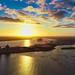 vivid sunset over Southampton docks