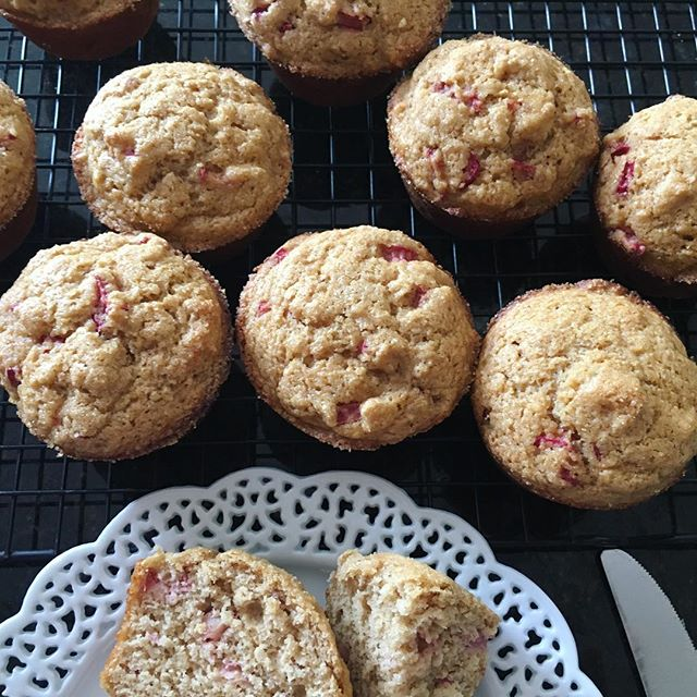 #rhubarb muffins. Whole wheat with flax meal. #baking #muffins