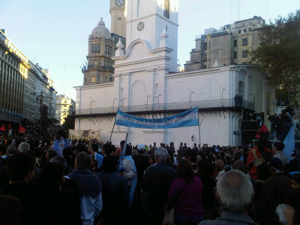 People gathered around the Buenos Aires Cabildo, during the Argentina Bicentennial. Photo taken on May 25, 2010.