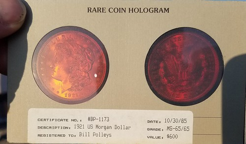 1921 Morgan dollar Hologram certificate
