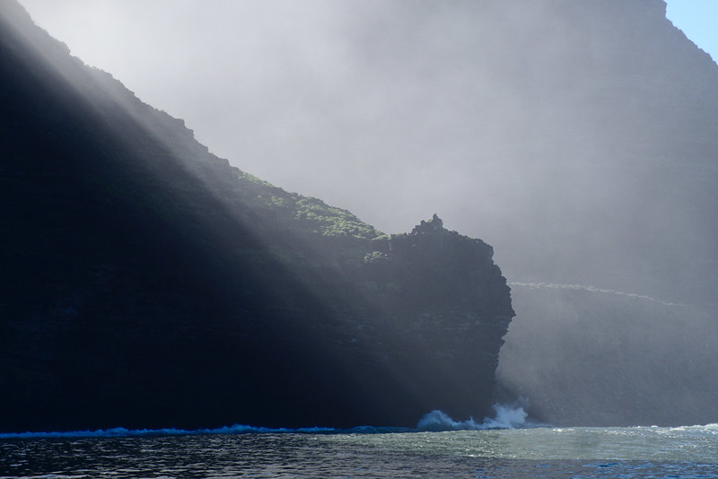 Shafts of sunlight, Nā Pali Coast