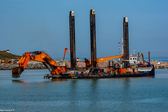 Goliath , From Holland, the largest backhoe dredger in the world, Workin on the New Aberdeen Cruise Liner Terminal ....