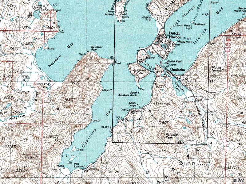 Map of Dutch Harbor, Alaska