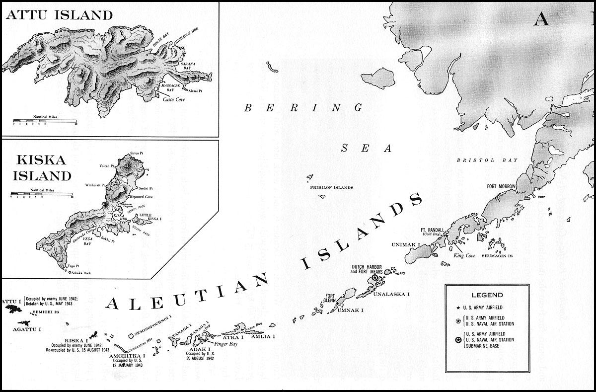 Map of the Aleutian Islands with Attu and Kiska.