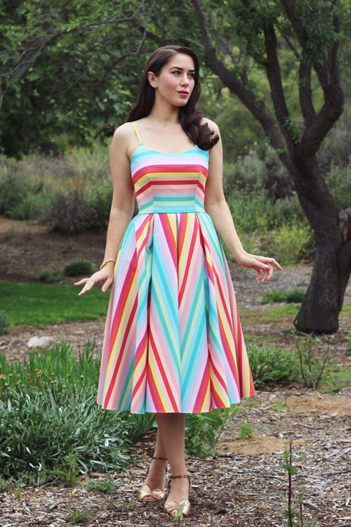 The Pretty Dress Company Priscilla Candy Stripe Midi Dress Southern California Belle