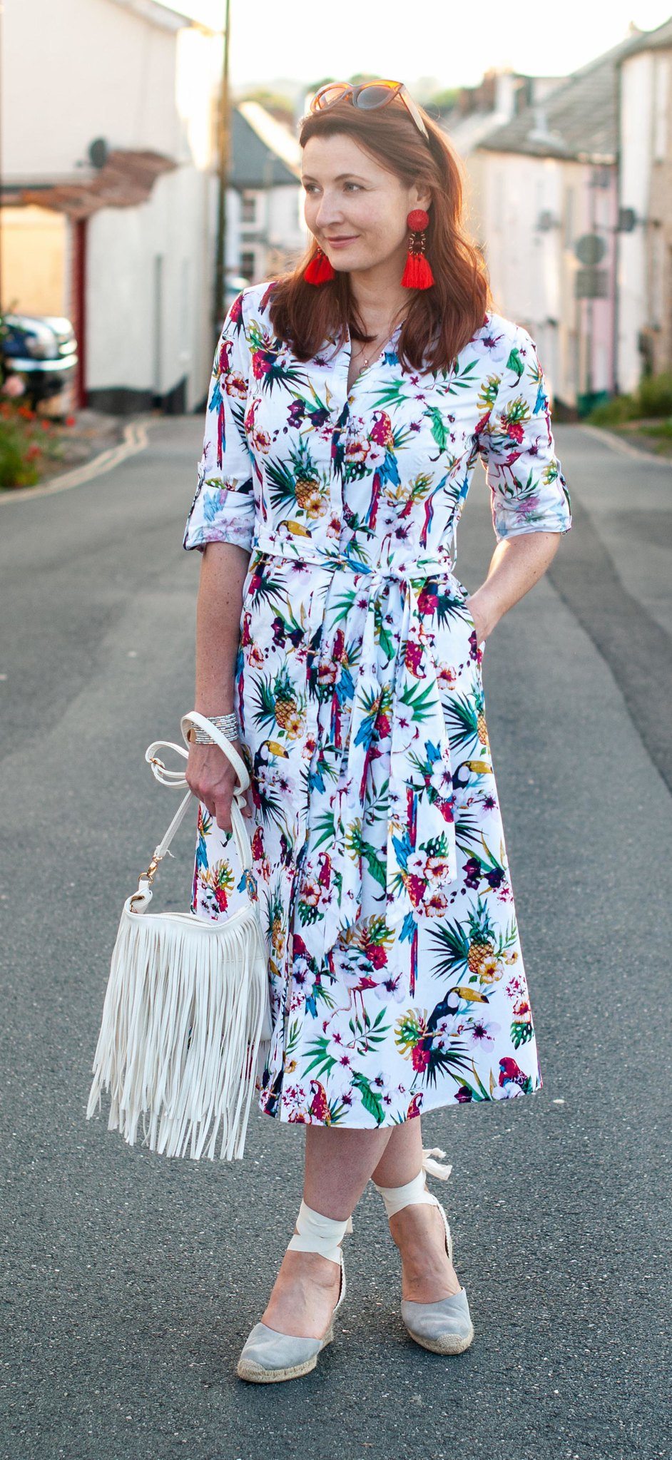 Florals With a Twist | A Loud Birds & Tropical Print \ tropical print midi shirt dress \ grey lace-up espadrilles \ red tassel rarrings \ white fringed crossbody bag | Not Dressed As Lamb, over 40 style