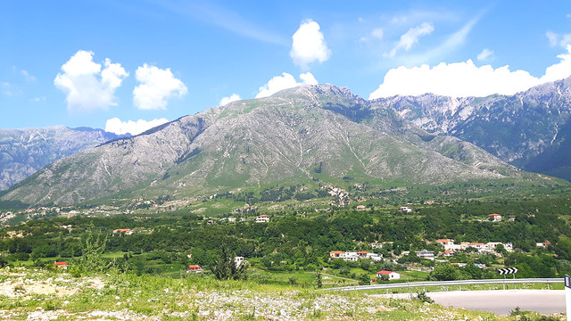 Mountains along the road in Albania