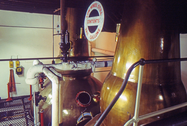 Brora Distillery on Closing Day, 1983 (Original Clynelish Distillery). Still Room from Upper Floor. (T)
