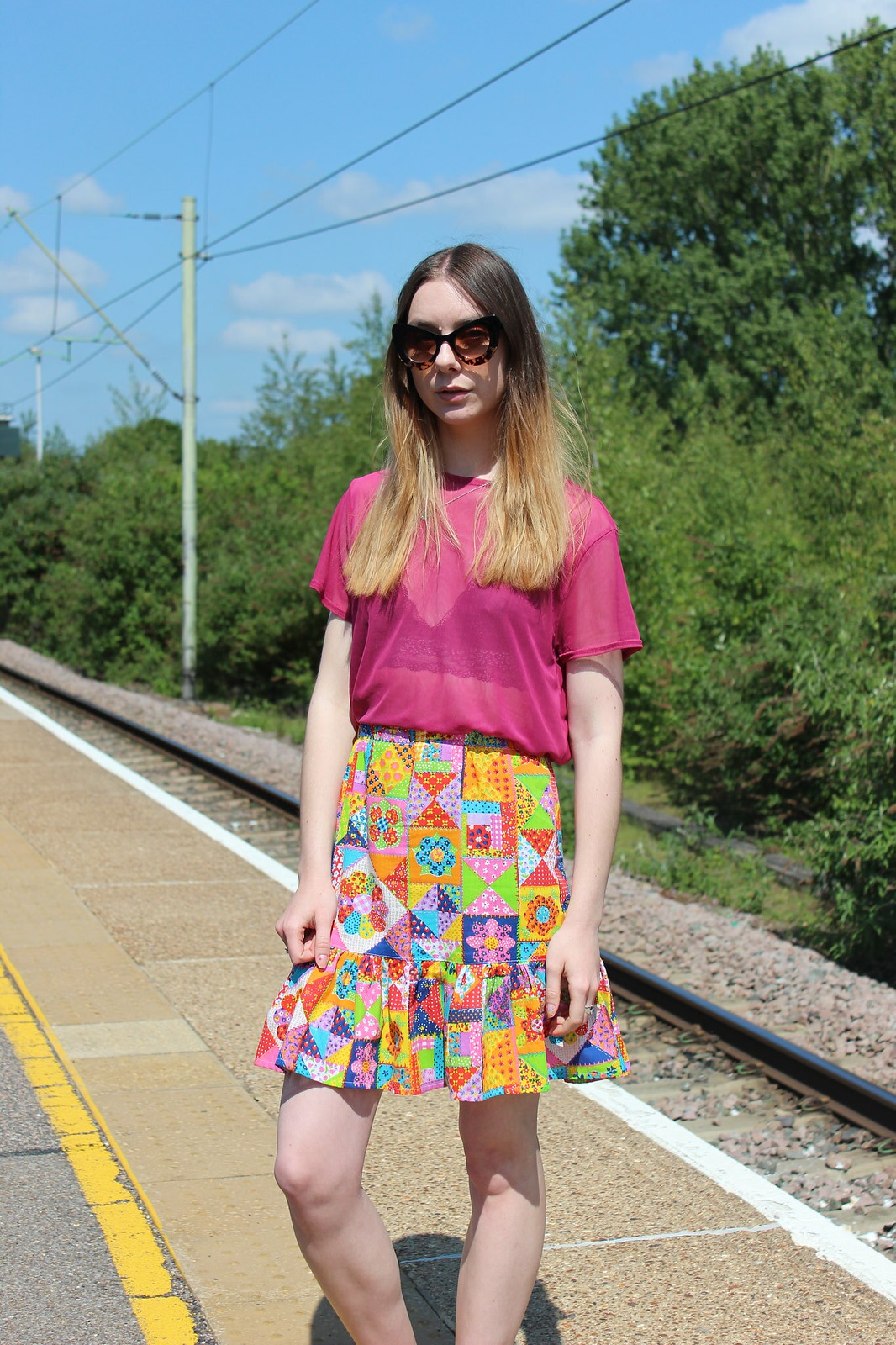 Sheer top and a braletter with a patchwork vintage skirt 4