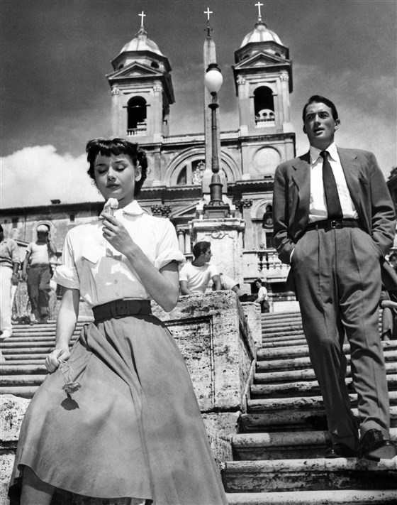 """Audrey Hepburn and Gregory Peck, film """"Roman Holiday"""