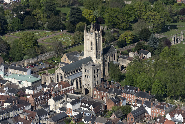 Aerial of St Edmundsbury Cathedral in Bury St Edmunds