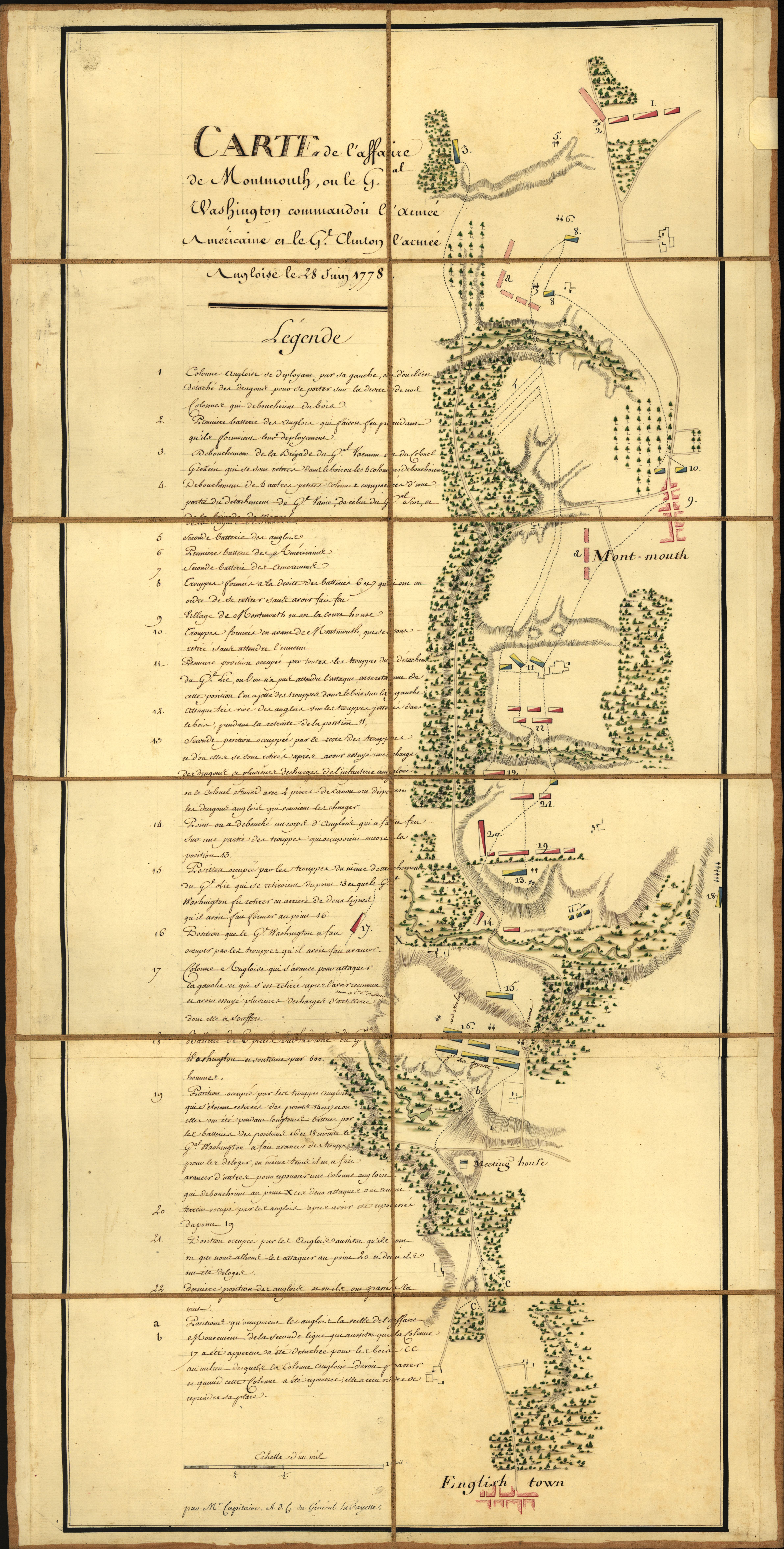 Map of the Battle of Monmouth Courthouse, N.J. on June 28, 1778. Drawn by Michel Capitaine du Chesnoy, aide-de-camp to Lafayette.