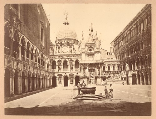 Old Photograph of Venice inside the Duke's Palace Courtyard