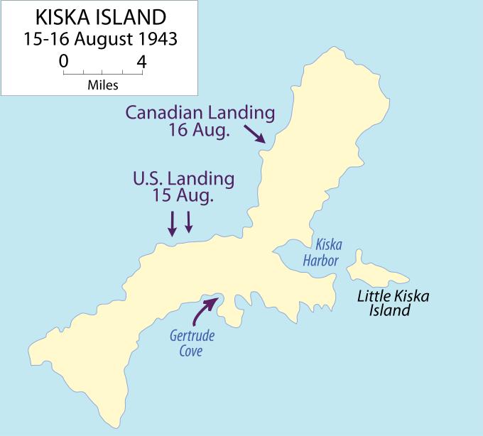 Map of the retaking of Kiska Island, Alaska, August 15-16, 1943