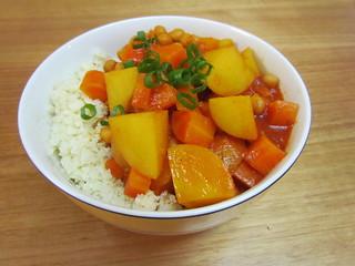 Carrot, Potato & Chickpea Red Curry; Cauliflower Rice