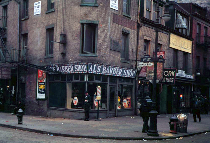 Southeast-corner-of-1st-St.-and-Bowery-19421