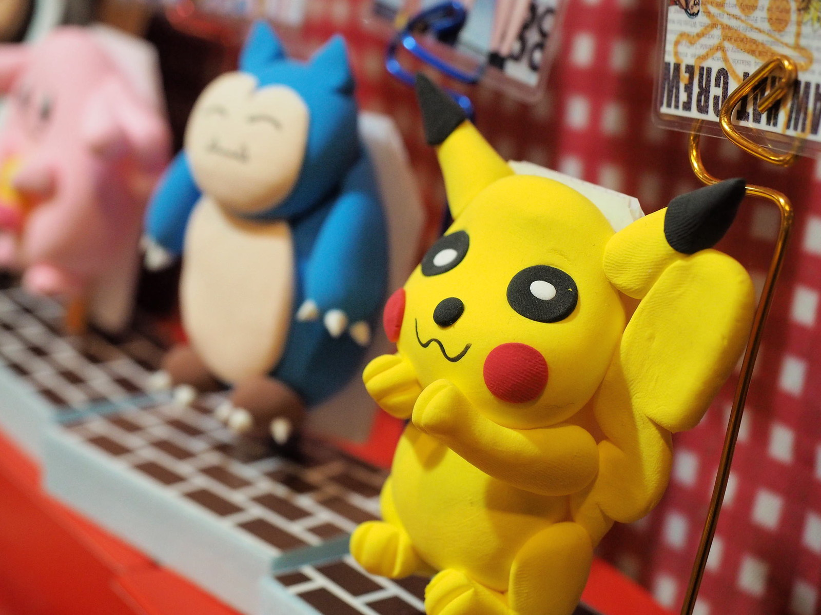 Pikachu and other Pokémon made from clay for sale.