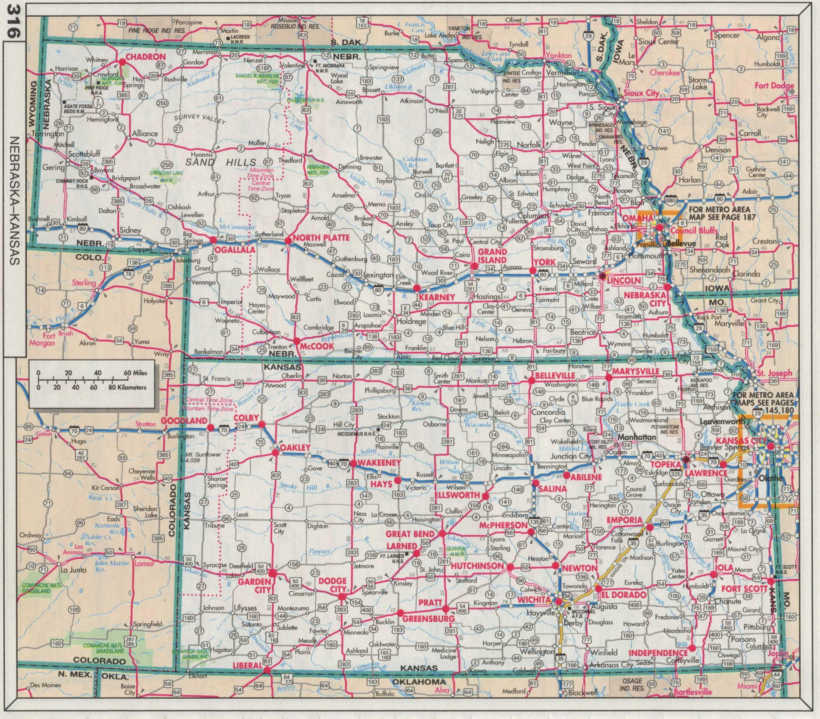 Modern highway map of Nebraska and Kansas.