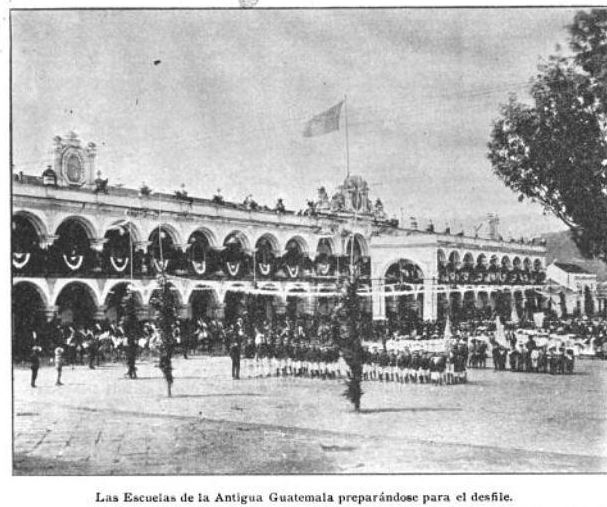 Palace of the Captains General of Antigua Guatemala decorated for the Minerva festivities of 1906
