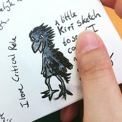 A little Kiri sketch in my travel journal. I love Critical Role, excited to have two new episodes to watch when I get home from my trip. Kiri is delightful! #criticalrole #sketchbook #traveljournal #drawing #art #painting #pentelbrushpen #watercolor #wate