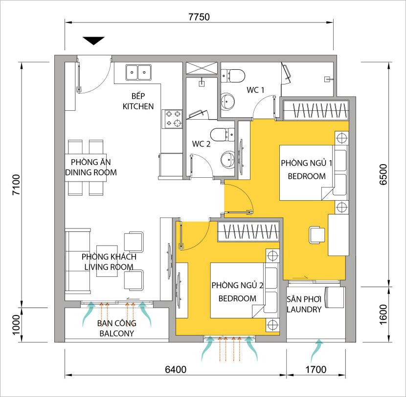 Mặt bằng căn hộ 2 phòng ngủ M-One cho thuê.