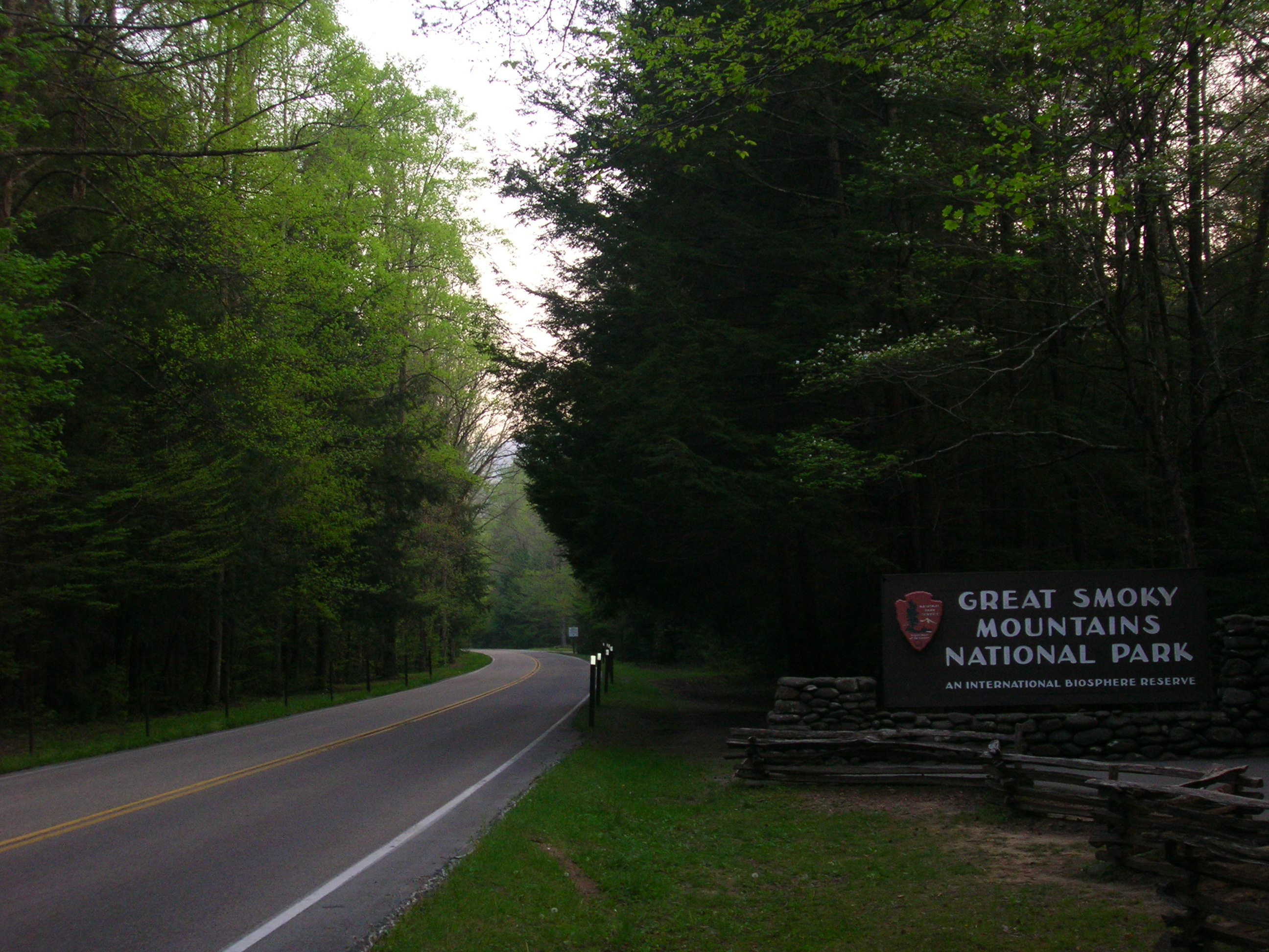 Main entrance to the Great Smoky Mountains National Park from Gatlinburg, Tennessee.