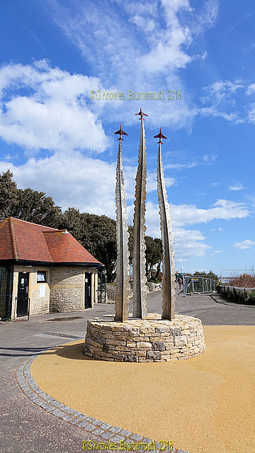 Red Arrows Memorial in March 2018, East Overcliff Drive, Bournemouth, BH1 3DN. Dorset. England.