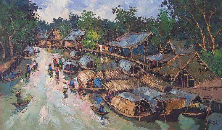 Painting of a Thai riverside village with numerous krachaeng boats and sampans in the water.