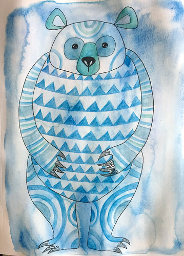 22 - Big Blue Bear - Art Journal Page