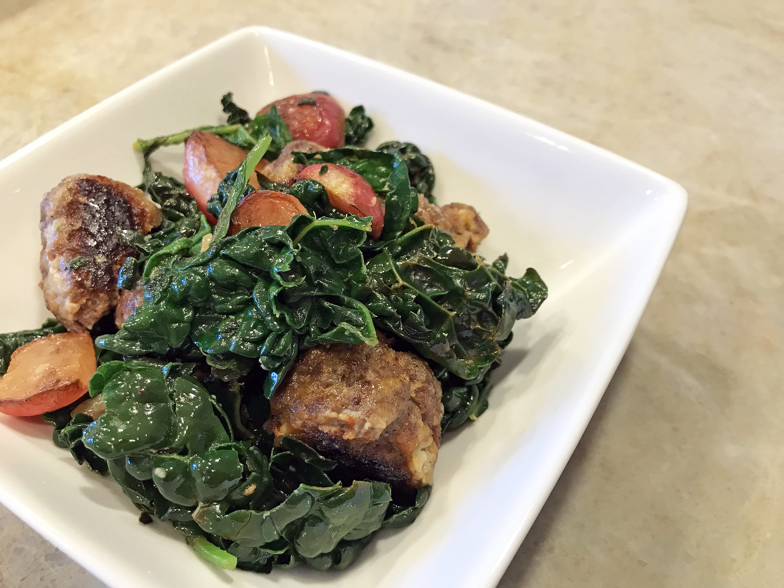 Beef meatballs with kale and radishes