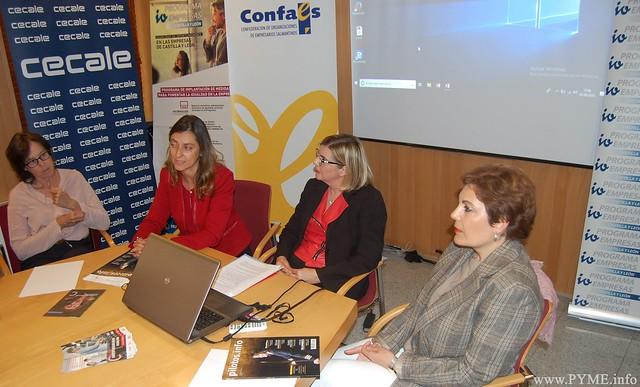 """Imagen de la presentación del encuentro """"Igualdad de género en la empresa"""" organizado por la Confederación de Organizaciones Empresariales de Castilla y León (CECALE), junto a la patronal salmantina CONFAES."""