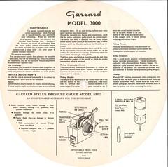 Garrard Model 3000 Instructions Back