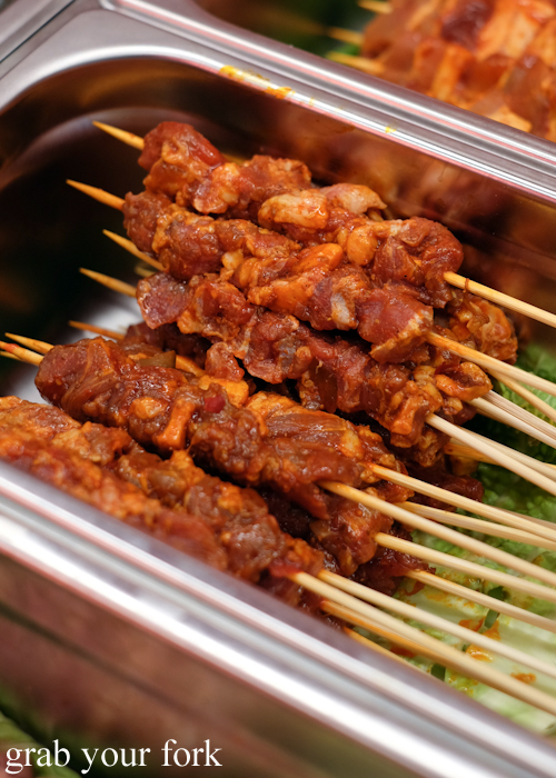 Pickled pepper beef brisket skewers at Granny Wolf BBQ in Central Park Mall Sydney