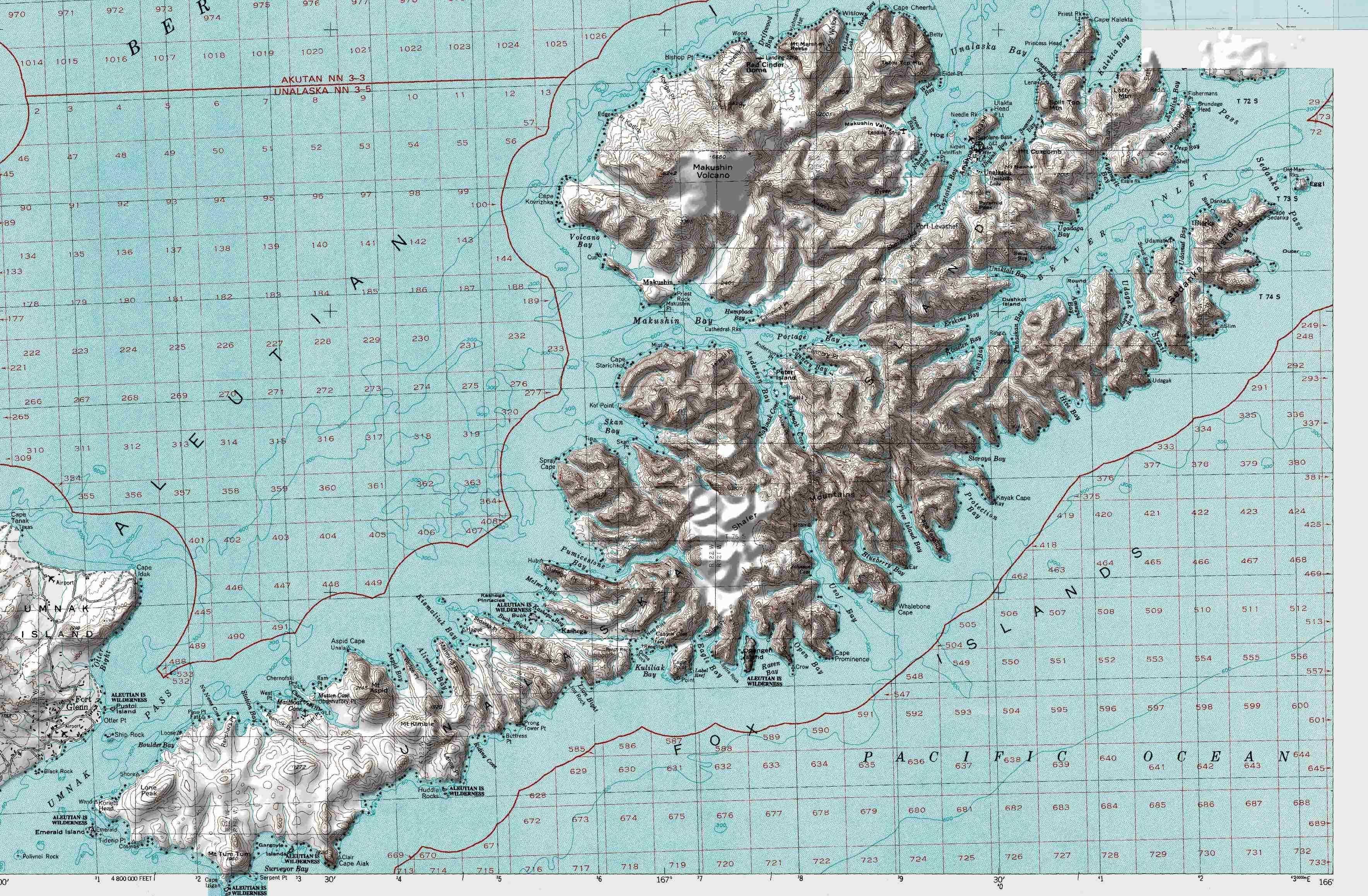 Map of Unalaska Island in the Aleutians