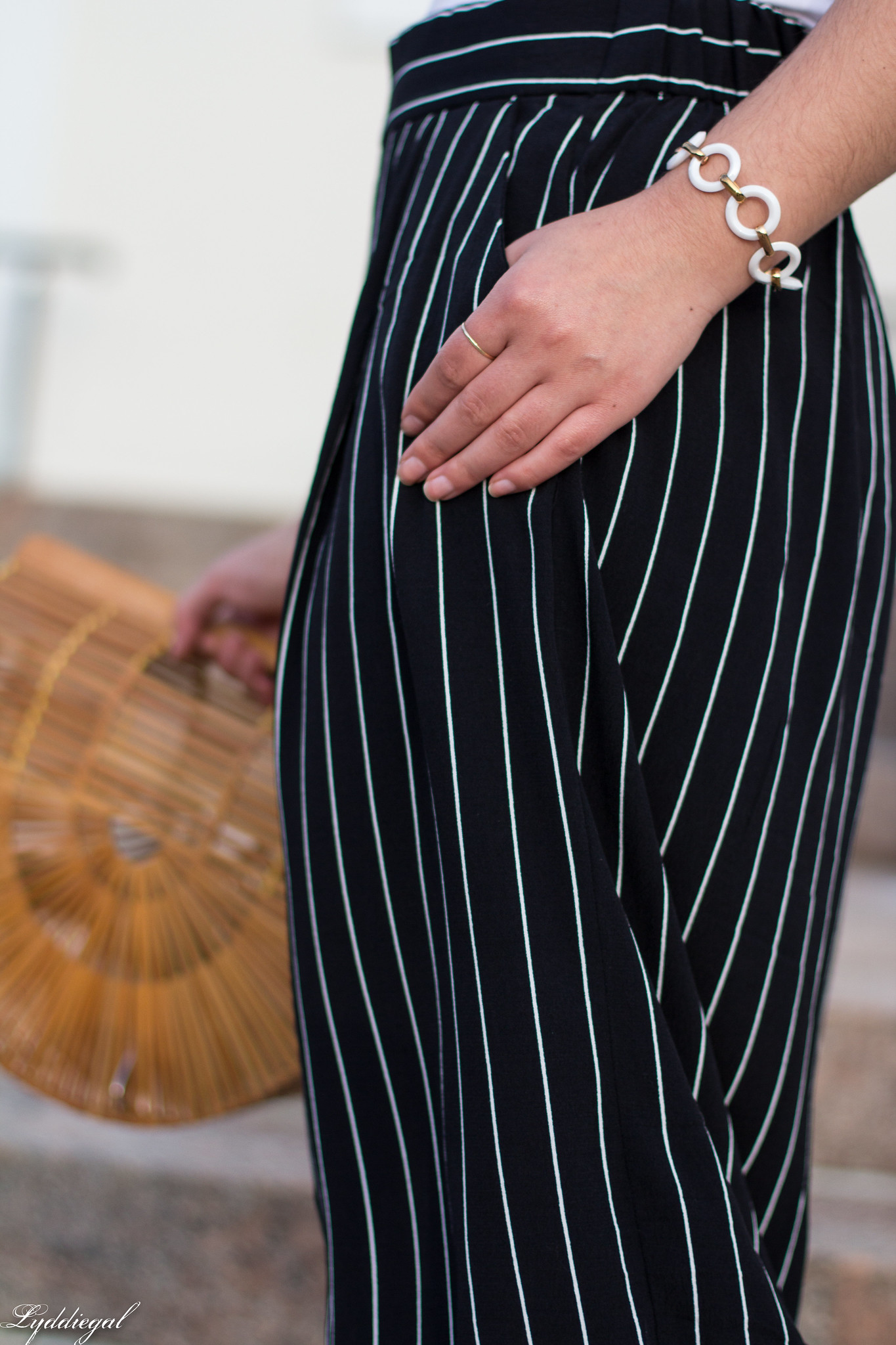 white bodysuit, black and white striped culottes, bamboo bag, black slides-4.jpg