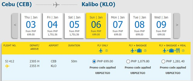 Cebu to Kalibo Cebu Pacific Promo January 6, 2019